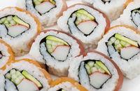 Sushi rolls assortment  on white background