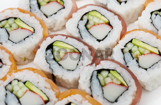Sushi rolls assortment  on white background