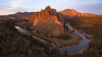 Aerial View Smith Rock Tuft and Basalt Cliffs Crooked River Sunset