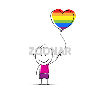 Cartoon boy holding a ball in his hand in the form of a heart in the colors of LGBT