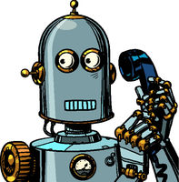 scared funny robot talking on a retro phone. isolate on white background