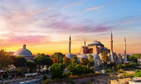 Hagia Sophia and the Bath-house of Haseki Hurrem Sultan in Istanbul, Turkey