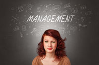 Girl with managerial task concept