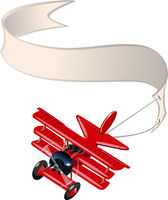 Cartoon retro airplane with banner isolated on white background