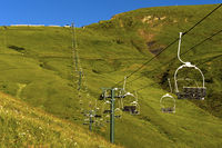 Chair lift at Mont Joly in summer, Megeve, Haute-Savoie, France