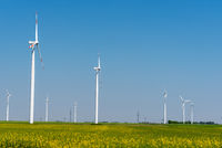 Some wind power plants in a field of flourishing rapeseed seen in Germany