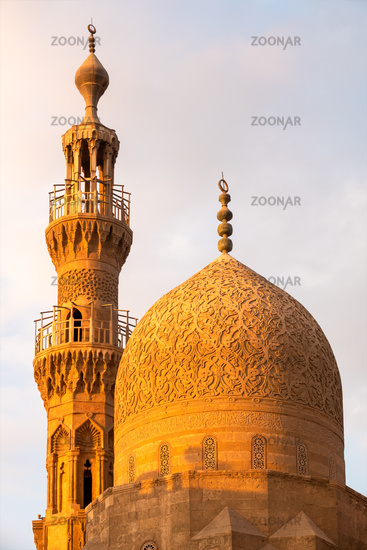 The Aqsunqur mosque in Cairo Egypt at sunset