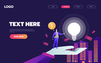 A man in city with big light bulb, and money. Idea, start up launching, business success. violet palette. Website landing web page template.