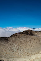 Aerial view of beautiful Ijen volcano crater edges, Java