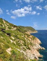 Coastline and Tourist Road on Island of Elba,Tuscany,mediterranean Sea,Italy