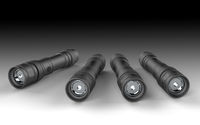 Several flashlight 's placed on the grey background.