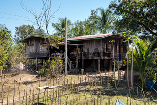 A little village on the way from Wat Phou to the Nakasong islands in Laos.