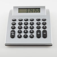 Calculator with the number of pi on its display isolated on white background.