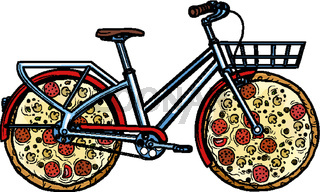 pizza delivery. bike courier service