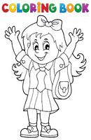 Coloring book happy pupil girl theme 1