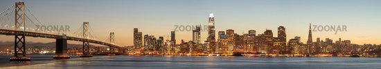 The Bay Bridge and San Francisco Skyline Panorama.