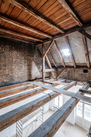 empty attic / loft during dry rot renovation, old roof -