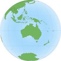 Topographic map of Australia on the Globe