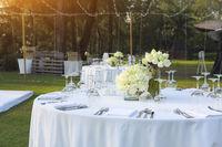 Dinning wedding table set with white lotus