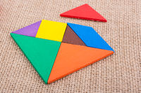 Pieces of a square tangram puzzle