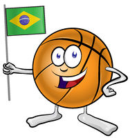 basketball mascot cartoon with brazilian flag