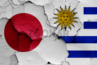 flags of Japan and Uruguay painted on cracked wall