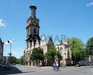 roofless Aegidienkirche church ruin in Hannover Germany serves as a world war II memorial