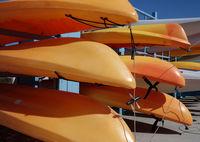 Orange sea kayaks