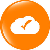 speech bubbles cloud with check mark web icon