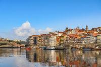 Porto Portugal city skyline at Porto Ribeira and Douro River