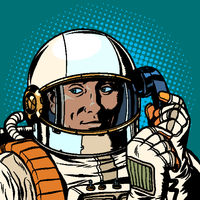 serious astronaut talking on a retro phone