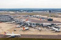 London Heathrow Airport LHR Terminal 3 aerial photo