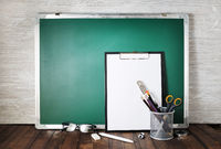 Green blackboard, stationery