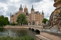 View at famous Schwerin castle, seat of federal state parliament of Mecklenburg-Vorpommern.
