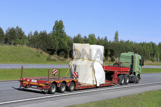 Semi Trailer Long Load on Motorway