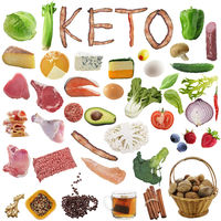 Ketogenic diet food. Balanced low-carb food on white background