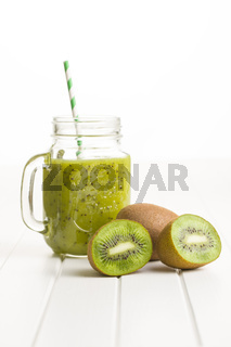 Glass of kiwi smoothie juice.