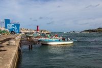 Harbour with boats and Lighthouse and Bay near Cape Ganjeolgot. Easternmost Point of Peninsula in Ulsan, South Korea. Asia