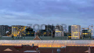 Oslo Norway, night city skyline at business district and Barcode Project