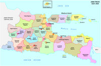 Jawa Timur, East Java administrative and political vector map, Indonesia