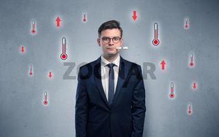 Businessman with thermometer and fever concept
