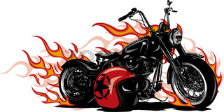 vector illustration Flaming Bike Chopper Ride Front View
