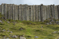 Wall of high basalt columns in Iceland. Volcanic Basalt Coloumn Formations.