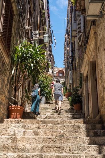 Steep steps and narrow street in Dubrovnik old town