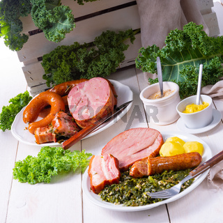 a delicious genuine oldenburger kale with peeked pinkel sausage