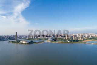 city and lake