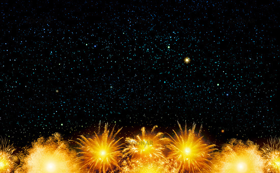 Abstract golden firework background . New Year background.