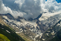 View from Hohe Mut Alm to the glacier wall of Rotmoosalm, South Tyrol, Austria
