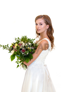 beautiful girl in white dress with big bouquet