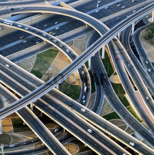aerial view of highway Cityscapes.